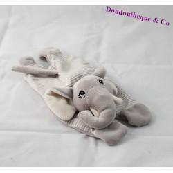 Doudou plat éléphant H&M gris rayures 27 cm