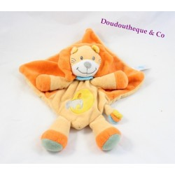 Doudou plat lion TEX BABY orange brodé éléphant oiseau Carrefour 31 cm