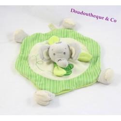 Doudou plat éléphant TITOUTAM rond vert trèfle feuille 33 cm