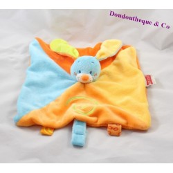 Doudou rabbit flat NATTOU Funny Farmers orange blue 25 cm