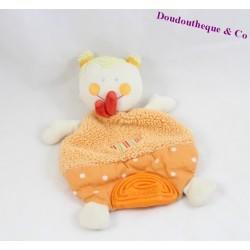 Doudou plat fille BABYSUN poupée blonde anneau dentition orange 21 cm