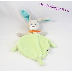 Doudou rabbit flat green diamond TEX knots 30 cm