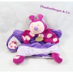 Doudou marionnette coccinelle Framboiselle DOUDOU ET COMPAGNIE  violet rose