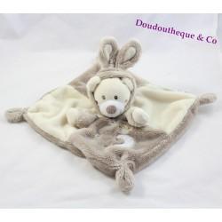 Doudou plat ours AUCHAN déguisé en lapin beige marron Simba Toys