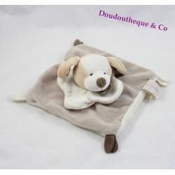 Doudou plat chien Alinéa Doudou et Compagnie beige blanc 18 cm