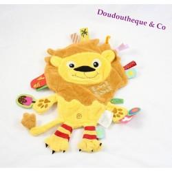 Doudou plat lion LABEL LABEL étiquettes jaune orange marron 27 cm