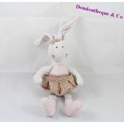 Doudou lapin TAPE A L'OEIL TAO Little Princess tutu à pois 30 cm