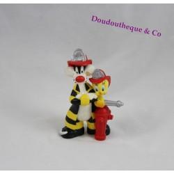 Figurine Titi et Grosminet BULLYLAND pompiers borne incendie
