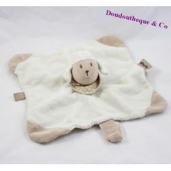 Doudou plat mouton NATTOU cappuccino beige blanc 26 cm