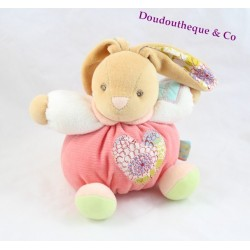 Doudou boule lapin KALOO coeur collection Bliss rose 20 cm