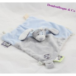 Doudou flat dog NOUKIE's collection Arthur and Merlin blue and gray 24x25cm