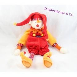 Doudou plat marionnette Clown Capucin MOULIN ROTY Dragobert arlequin rouge