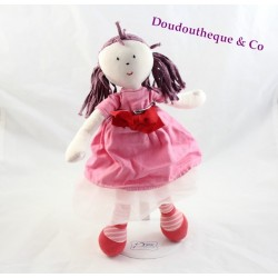 Doll cloth Bertille JACADI red rose skirt tulle 34 cm
