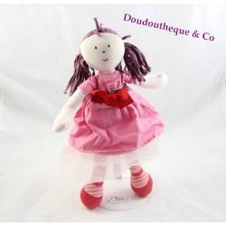 Poupée chiffon Bertille JACADI rose rouge jupe tulle 34 cm