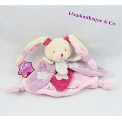 Doudou flat rabbit DOUDOU AND COMPAGNY Owl it shines purple pink stars