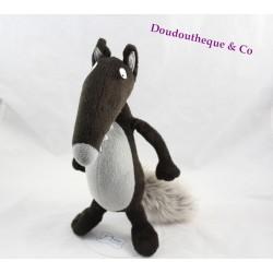 Peluche le loup AUZOU Loup tout nu noir gris 29 cm