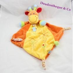 Doudou plat girafe MOTS D'ENFANTS oiseau bleu losange orange jaune  47 cm