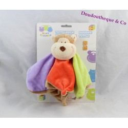 Doudou flat Eddy monkey BABY FRIENDS ZEEMAN green red purple brown