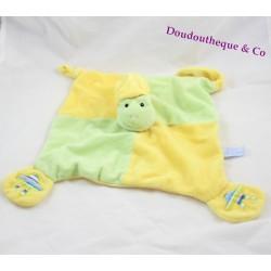 Doudou plat grenouille GIPSY vert et jaune 26x26cm