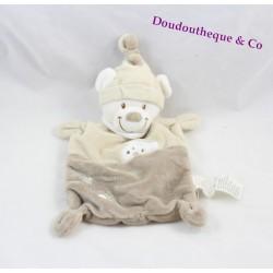 Doudou plat ours NICOTOY blanc gris beige bonnet empreintes 25 cm