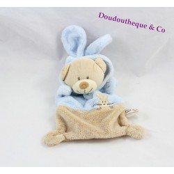 Doudou flat bear ZANNIER Wheat grain disguised as beige blue rabbit 21 cm