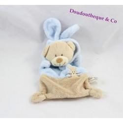 Doudou plat ours GRAIN DE BLÉ déguisé en lapin bleu beige 21 cm