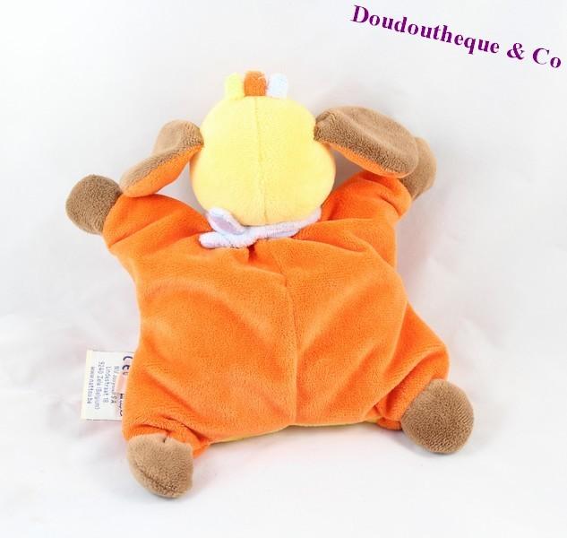 doudou semi plat chien nattou tim orange jaune grelot 25 cm sos d. Black Bedroom Furniture Sets. Home Design Ideas