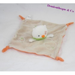 Doudou flat cat CREATIVTOYS beige orange bandana green 21 cm