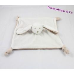Doudou plat lapin J-LINE beige blanc noeuds 26 cm