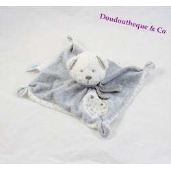 Bear flat Doudou TEX BABY star square white grey 19 cm