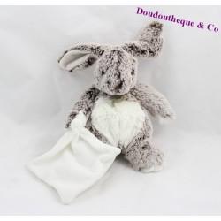 Doudou lapin mouchoir blanc BABY NAT' les flocons BN664 19 cm
