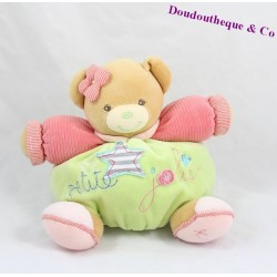 Doudou patapouf ours KALOO Bliss Petite Jolie vert rose 23 cm
