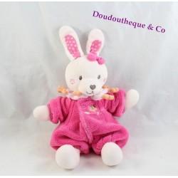 Doudou rabbit TEX BABY nice pink onesie OWL 26 cm