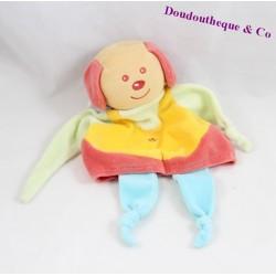 Doudou flat dog Teddy blue yellow flowers 30 cm