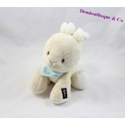 Doudou lapin KALOO Les amis Kaloo beige bandana bleu 18 cm