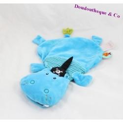Doudou plat Arnold l'hippopotame LILLIPUTIENS marionnette bleu pirate 35 cm