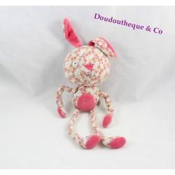 Doudou lapin DPAM bébé rose fleuris longues pattes Du Pareil au Même 35 cm