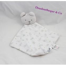 Doudou plat ours COCOON blanc imprimé La Redoute 30 cm