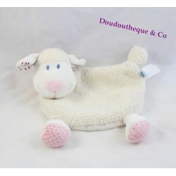 Doudou plat mouton TEX BABY blanc rose foulard rouge