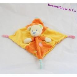 Doudou plat Ours MOTS D'ENFANTS orange rayé 24 cm