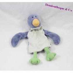 Doudou plat pingouin JACADI bleu blanc grelot 22 cm