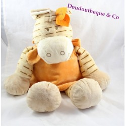 Peluche Zamba zèbre NOUKIE'S beige robe orange 50 cm
