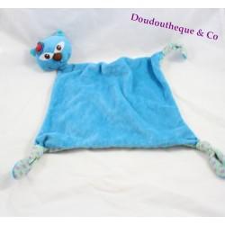 Doudou plat chat Carréblanc Carré Blanc bleu fleurs mauve losange 43 cm
