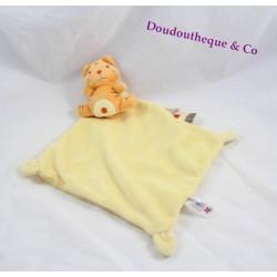 Doudou plat Lion NICOTOY carré orange 21 cm