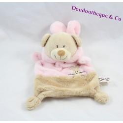 Doudou plat ours déguisé en lapin GRAIN DE BLE rose et marron