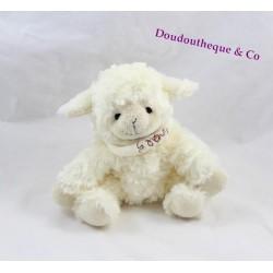 Peluche mouton HISTOIRE D'OURS blanc bandana agneau 20 cm
