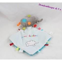 Doudou plat éléphant NICOTOY Mon doudou étiquettes 28 cm