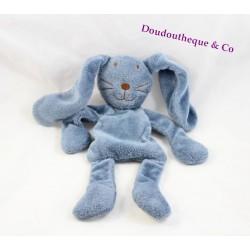 Doudou semi plat lapin DPAM Du Pareil au Même bleu 30 cm