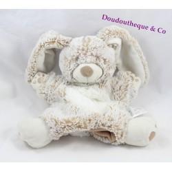 Doudou puppet rabbit TEX beige white hairs long Carrefour 22 cm