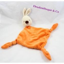 Doudou plat lapin CARREBLANC Carré Blanc orange clin d'oeil noeud 39 cm